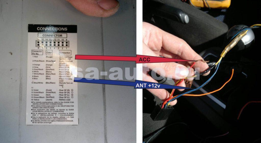 провод ACC магнитолы Alpine и провод Power Antenna Lead в Форд Фокус 2