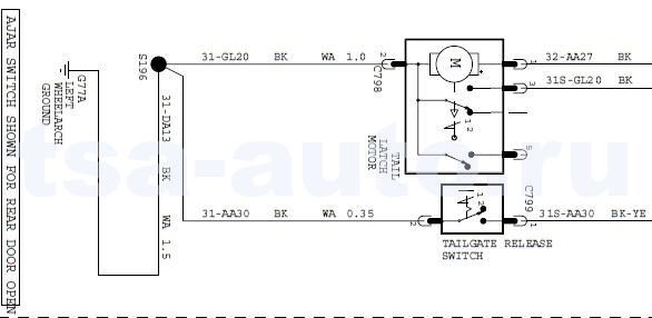 электро схема подключения замка багажника Форд Фокус 2 седан